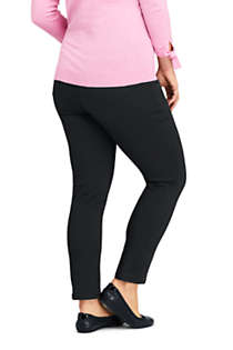 Women's Plus Size High Rise Slim Straight Leg Ankle Twill Jeans - Black, Back