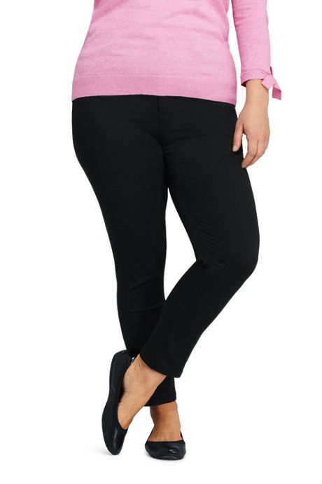 Women's Plus Size High Rise Straight Leg Ankle Twill Jeans - Black
