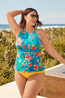 Women's Plus Size Keyhole High Neck Modest Tankini Top Swimsuit Adjustable Straps Print, Unknown