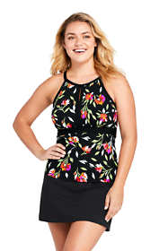 Women's Plus Size Long Keyhole High-neck Tankini Top Swimsuit Print