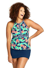 Women's Plus Size Keyhole Tankini Top Swimsuit Print