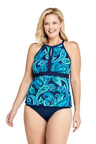 Women's Plus Size Long Keyhole High Neck Modest Tankini Top Swimsuit Adjustable Straps Print