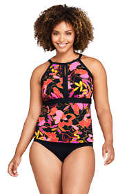 Women's Plus Size DD-Cup Keyhole High Neck Modest Tankini Top Swimsuit Adjustable Straps Print