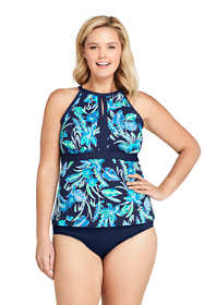 Women's Plus Size Keyhole High Neck Modest Tankini Top Swimsuit Adjustable Straps Print
