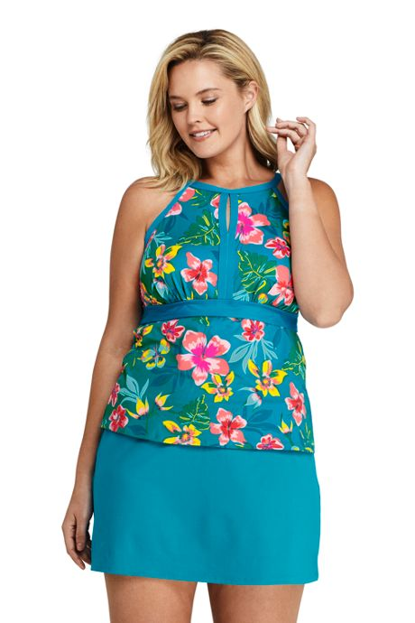 Women's Plus Size Tummy Control Keyhole High Neck Tankini Top Swimsuit Adjustable Straps Print