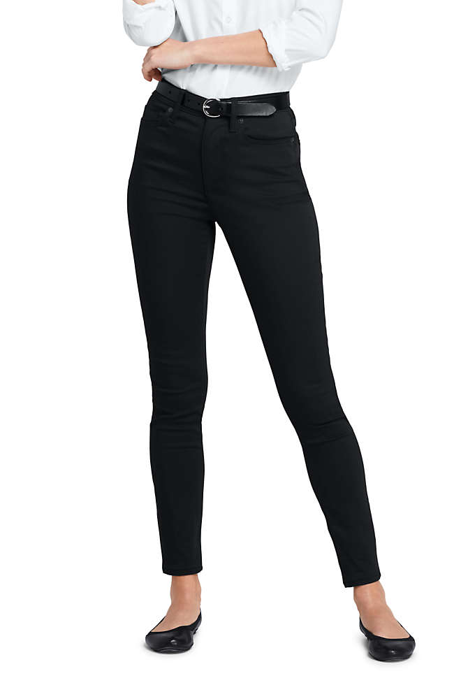 Women's High Rise Slim Straight Leg Ankle Twill Jeans - Black, Front