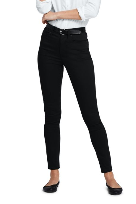 Women's Tall High Rise Slim Straight Leg Ankle Twill Jeans - Black