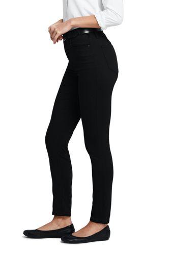 Women's Tall High Rise Slim Straight Leg Ankle Twill Jeans - Black