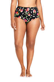 Women's Plus Size High Waisted Bikini Bottoms with Tummy Control Print