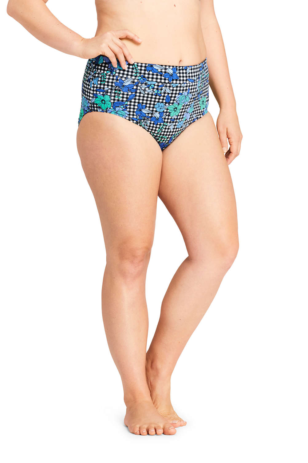 96a7ae129ad Women's Plus Size High Waisted Bikini Bottoms with Tummy Control Print from  Lands' End