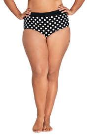 Women's Plus Size High Waisted Bikini Bottoms with Tummy Control Print