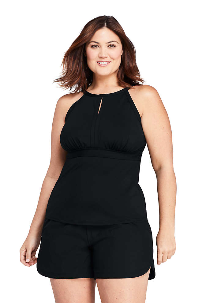 Women's Plus Size Keyhole High Neck Modest Tankini Top Swimsuit Adjustable Straps, Front