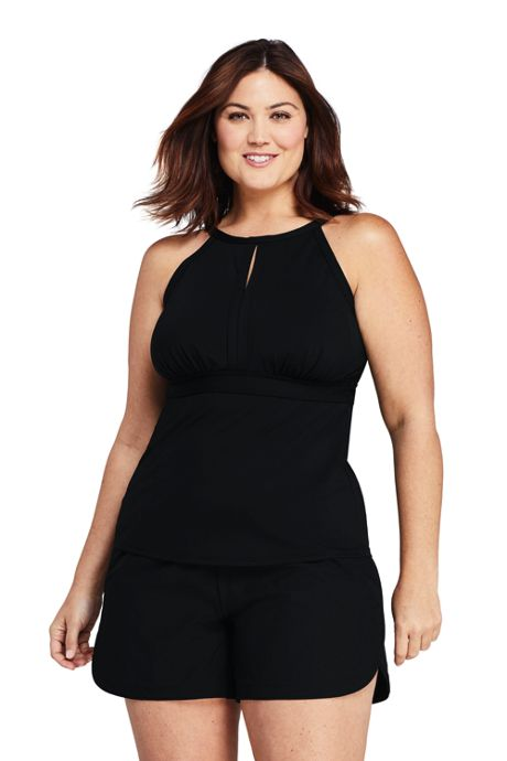 Women's Plus Size Long Keyhole High-neck Tankini Top Swimsuit