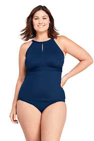 Women's Plus Size DDD-Cup Keyhole High Neck Modest Tankini Top Swimsuit Adjustable Straps