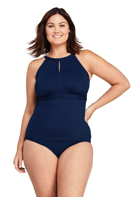 Women's Plus Size DD-Cup Keyhole High Neck Modest Tankini Top Swimsuit Adjustable Straps