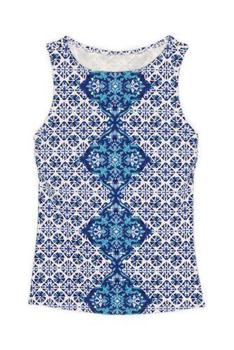 Women's D-Cup High Neck UPF 50 Modest Tankini Top Swimsuit Print