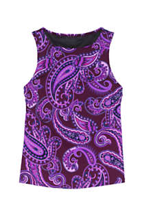 Women's D-Cup High Neck UPF 50 Modest Tankini Top Swimsuit Print, Front