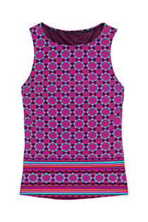 Women's Plus Size DDD-Cup High Neck UPF 50 Modest Tankini Top Swimsuit Print, Front