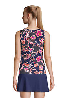 NEW Lands End High Neck Tankini Top Black Floral 16W 18W 22W 24W