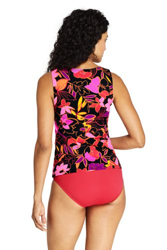 Women's DD-Cup High Neck UPF 50 Modest Tankini Top Swimsuit Print