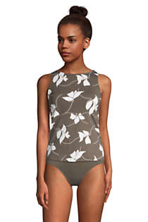 Women's D-Cup High Neck UPF 50 Modest Tankini Top Swimsuit Print, alternative image
