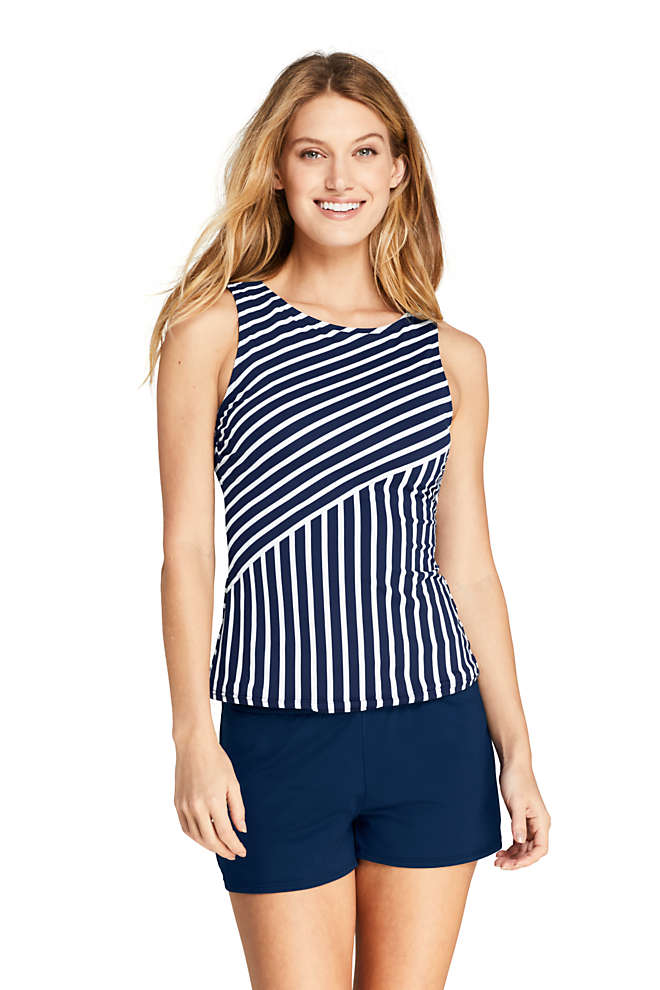 Women's High Neck UPF 50 Modest Tankini Top Swimsuit Print, Front