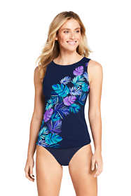 Women's Long High-neck Tankini Top Swimsuit Print