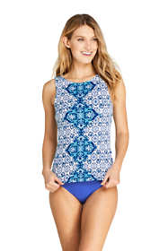 Women's DDD-Cup High Neck UPF 50 Modest Tankini Top Swimsuit Print