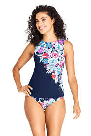 Women's Mastectomy High Neck UPF 50 Modest Tankini Top Swimsuit Print