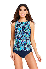 Women's D-Cup High Neck UPF 50 Modest Tankini Top Swimsuit Print