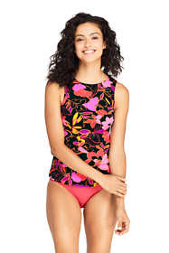Women's Long High Neck UPF 50 Modest Tankini Top Swimsuit Print