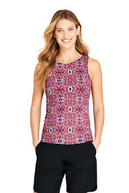 Women's High Neck UPF 50 Modest Tankini Top Swimsuit Print