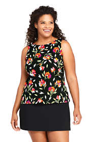 Women's Plus Size Long High-neck Tankini Top Swimsuit Print