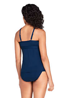 Women's Long Tummy Control Keyhole High Neck Modest Tankini Top Swimsuit Adjustable Straps, Back