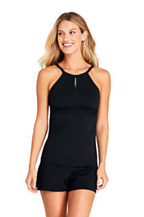 Women's Petite Keyhole High Neck Modest Tankini Top Swimsuit Adjustable Straps, Front