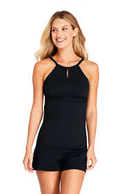 Women's Long Keyhole High Neck Modest Tankini Top Swimsuit Adjustable Straps