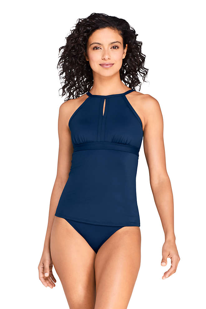 Women's Long Tummy Control Keyhole High Neck Modest Tankini Top Swimsuit Adjustable Straps, Front