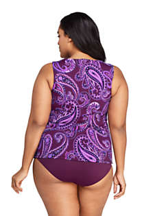 Women's Plus Size High Neck UPF 50 Modest Tankini Top Swimsuit Print, Back