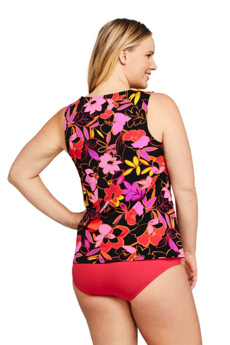 Women's Plus Size Long High Neck UPF 50 Modest Tankini Top Swimsuit Print