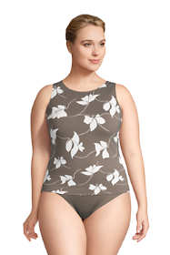 Women's Plus Size High Neck UPF 50 Modest Tankini Top Swimsuit Print