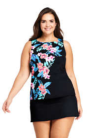 Women's Plus Size Mastectomy High-neck Tankini Top Swimsuit Print