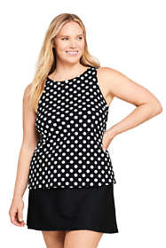 Women's Plus Size DDD-Cup High Neck UPF 50 Modest Tankini Top Swimsuit Print