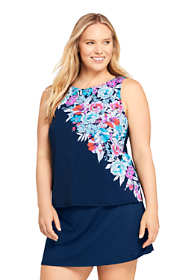 Women's Plus Size DD-Cup High Neck UPF 50 Modest Tankini Top Swimsuit Print