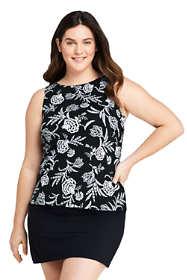Women's Plus Size High Neck UPF 50 Modest Tankini Top Swimsuit Print