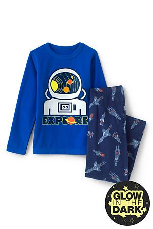 4a2188d43a Fleece-Pyjama mit Astronauten-Grafik für Jungen | Lands' End