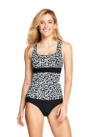 Women's Square Neck Underwire Tankini Top Swimsuit with Tummy Control Print
