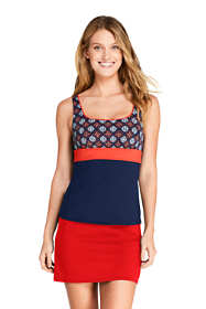 Women's Square Neck Underwire Tankini Top Swimsuit Print