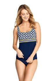 Women's D-Cup Square Neck Underwire Tankini Top Swimsuit Print