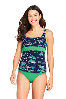 Women's D-Cup Beach Living Square Neck Colourblock Tankini Top