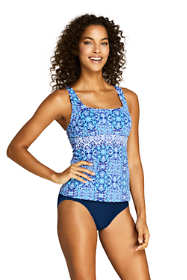 Women's Long Square Neck Underwire Tankini Top Swimsuit Print